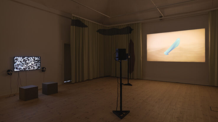 Gallery 1, installation view. Left: OS by Piscine (Jens Settergren, Mark Tholander & Anna Ørberg). Right: ALVA II by Sophia Ioannou Gjerding & Xenia Xamanek. Photo: Mikkel Kaldal.