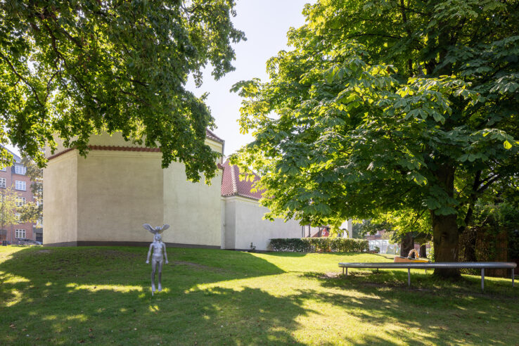 Rikard Thambert, Natugle (2019), installation view in the Sculpture Garden, Kunsthal Aarhus. Photo: Mikkel Kaldal.